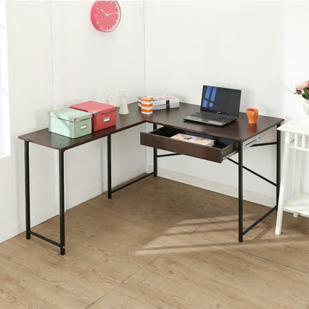 BuyJM防潑水超值單抽屜L型工作桌/電腦桌/寬140*120cm