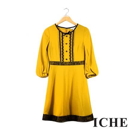 ICHE 衣哲 羊毛寬袖蕾絲拼機黃洋裝