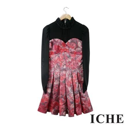 ICHE 衣哲 微高領拼接提花長袖紅禮服洋裝