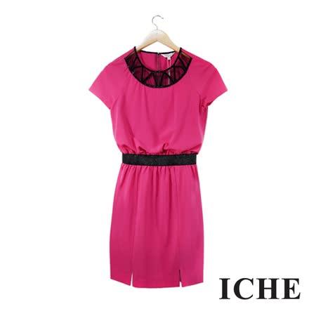 ICHE 衣哲 鏤空釘珠鬆緊造型桃紅洋裝