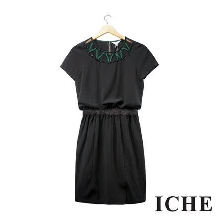 ICHE 衣哲 鏤空釘珠鬆緊造型黑洋裝