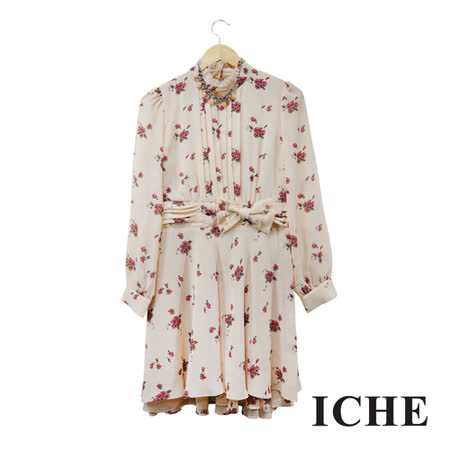 ICHE 衣哲 立領荷葉碎花印花粉長袖洋裝