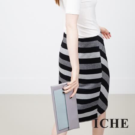 ICHE 衣哲 條紋撞色造型及膝裙