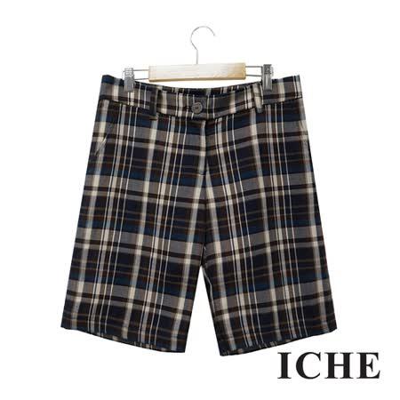 ICHE 衣哲 經典格紋印花直筒藍馬褲