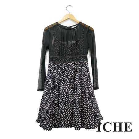 ICHE 衣哲 印花假兩件拼接長袖黑洋裝