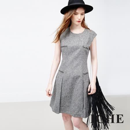 ICHE 衣哲 羊毛立體紋拉鍊黑洋裝