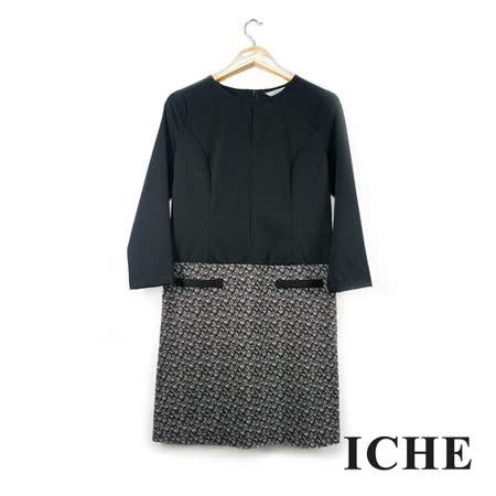 ICHE 衣哲 印花拼接七分袖黑洋裝
