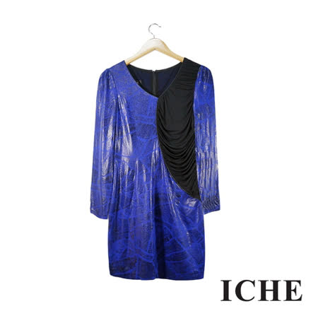 ICHE 衣哲 金屬光澤感印花拼接長袖藍紫洋裝