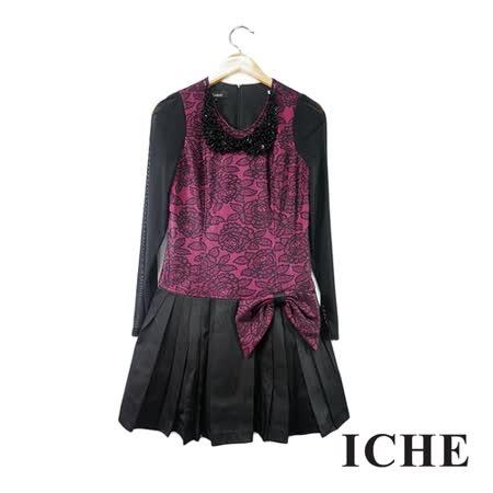 ICHE 衣哲 玫瑰提花拼接長袖洋裝