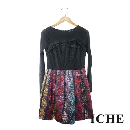 ICHE 衣哲 蕾絲拼接提花長袖洋裝