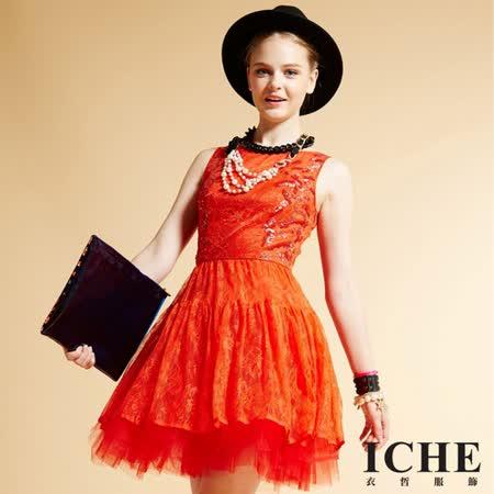 ICHE 衣哲 蕾絲釘珠拼接禮服紅洋裝
