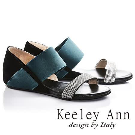 Keeley Ann簡約步調一字鑽帶內增高真皮涼鞋(黑色632013210)
