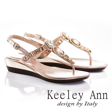 Keeley Ann艷夏滿鑽方塊寶石後繫帶T形夾腳涼拖鞋(玫瑰金色632008489)