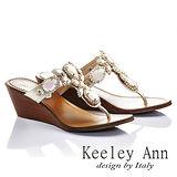Keeley Ann 高貴華麗-異國寶石厚底夾腳涼鞋(金色531008237)