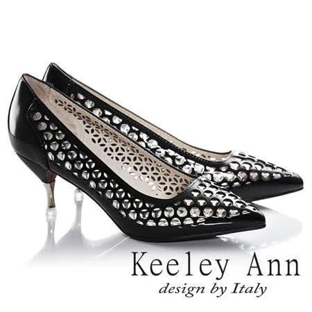 Keeley Ann科技感鏤空洞洞前衛OL尖頭高跟鞋(黑色625972310)-Ann系列