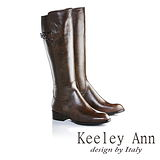 Keeley Ann  經典美型~簡約線條側邊釦全真皮騎士長靴(咖啡色589003170)