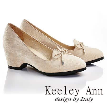 Keeley Ann 氣質印象~甜美蝴蝶結全真皮粗跟高跟鞋(米色635568230)
