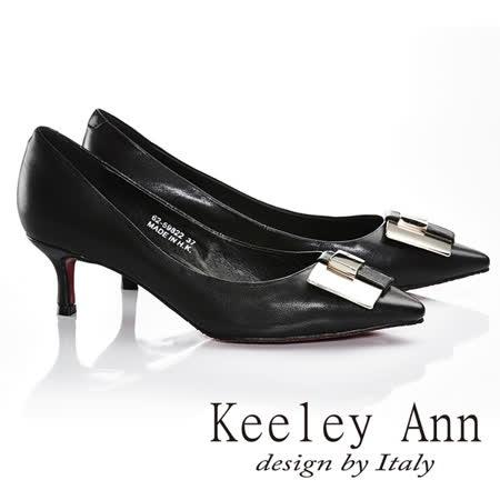 Keeley Ann  焦點女伶~OL大方金屬扣簡約中跟鞋(黑色625982210)-Ann系列