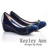 Keeley Ann  精緻風華~鉚釘個性漆皮內增高楔型鞋(藍色625692260)-Ann系列