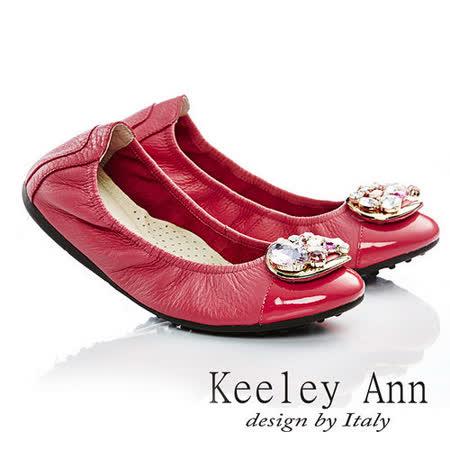 Keeley Ann 高貴風華-全真皮寶石金屬環扣娃娃鞋(桃紅色535033153)