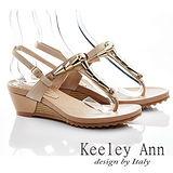 Keeley Ann 唯美生活-金屬大方尖扣繫帶楔型涼鞋(杏色532318206)