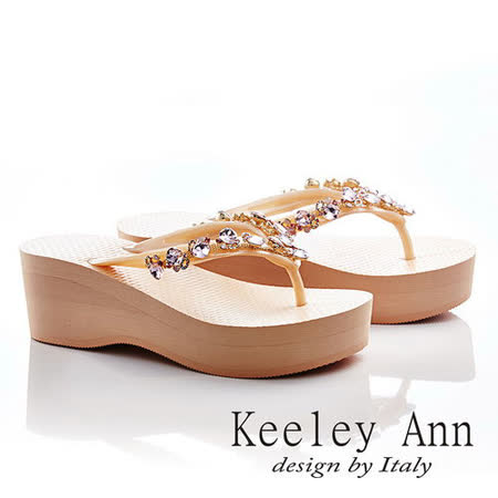 Keeley Ann 渡假美感-鑲珠彩鑽厚底夾腳涼鞋(淺粉色531158158)