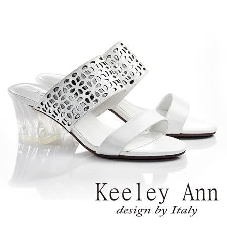 Keeley Ann  氣質風華~閃耀透膚花形縷空中粗跟涼鞋(白色621932140)-Ann系列