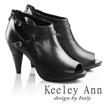 Keeley Ann模特私藏雙繫帶真皮高跟羅馬涼鞋(黑色623532210)-Ann系列