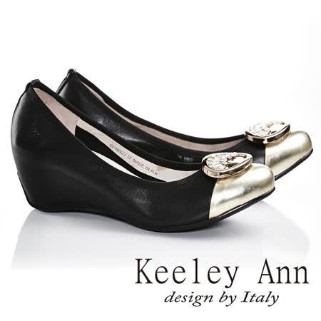 Keeley Ann  高貴出眾~鑲金裝飾漆皮楔型內增高楔型鞋(金色625692337)-Ann系列
