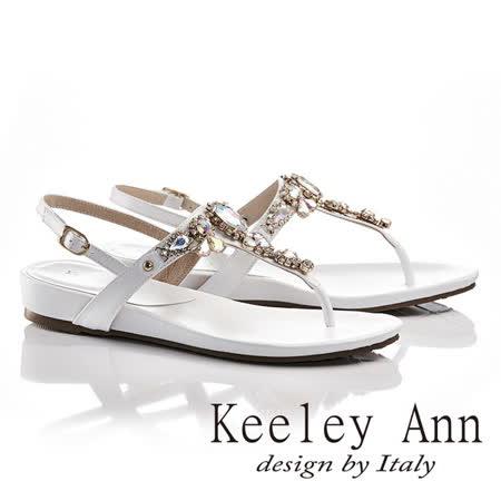 Keeley Ann盛夏滿鑽後繫帶T形夾腳涼拖鞋(白色632008540)