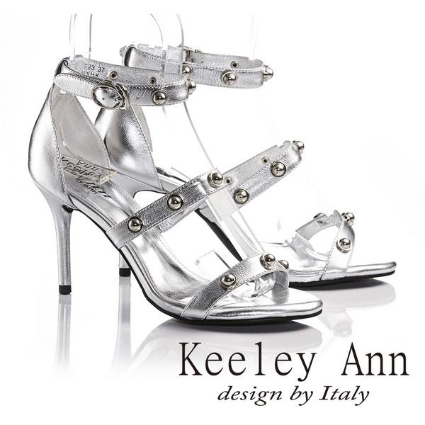 Keeley Ann金屬鉚釘繫帶真皮高跟涼鞋 銀色622982327 ~Ann系列