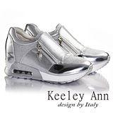 Keeley Ann亮粉拼接拉鍊內增高休閒鞋(銀色636158227)