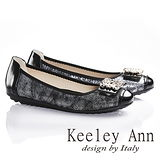 Keeley Ann閃閃動人金屬釦飾拼接真皮平底娃娃鞋(黑色635253110)