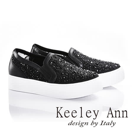 Keeley Ann透視蕾絲風真皮串珠厚底休閒鞋(黑色636948210)