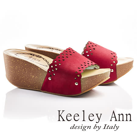 Keeley Ann一字寬帶真皮素色雕花厚底涼拖鞋(玫紅色621502152)-Ann系列