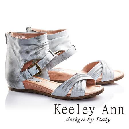 Keeley Ann個性女孩交叉寬帶真皮平底羅馬涼鞋(藍色633138260)