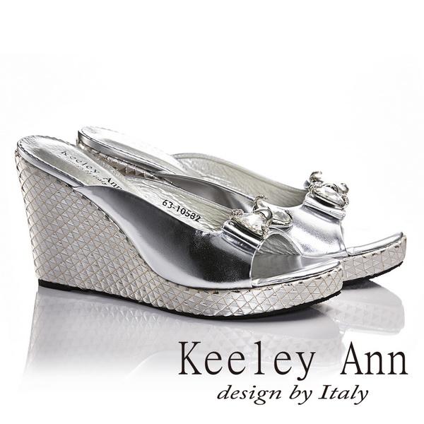 Keeley Ann蝴蝶結鑽飾真皮幾何圖騰楔形跟鞋 銀色631058227