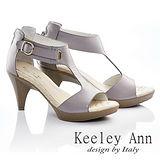 Keeley Ann 氣質優雅-真皮後拉鍊環扣造型粗跟涼鞋(紫色532038203)