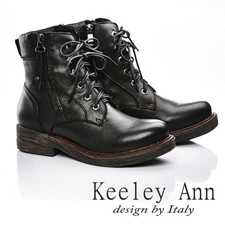 Keeley Ann 俐落有型-率性真皮綁帶側拉鍊中筒靴(黑色587138210)