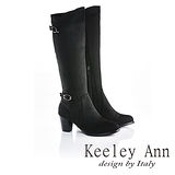 Keeley Ann  米蘭限定~浪漫雙釦造型美型長腿高跟長靴(黑色589033110)