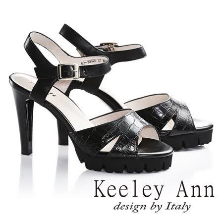 Keeley Ann低調簡約鱷魚壓紋細跟高跟涼鞋(黑色622932510)-Ann系列