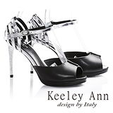 Keeley Ann科技感漩渦真皮細跟高跟魚口涼鞋(黑色622982210)-Ann系列