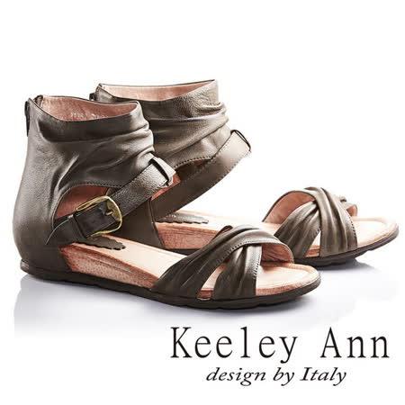 Keeley Ann個性女孩交叉寬帶真皮平底羅馬涼鞋(咖啡色633138270)
