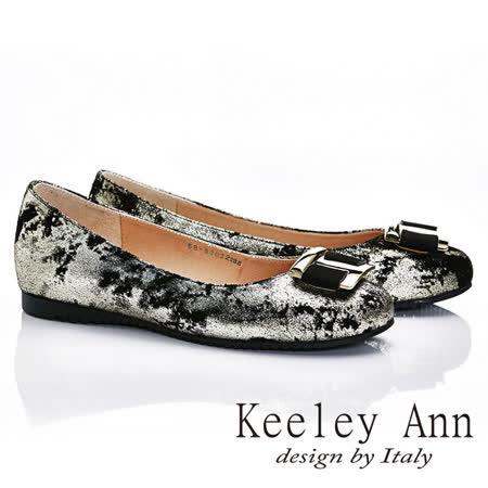 Keeley Ann 高貴奢華~大方金屬釦全真皮獨特造型軟墊平底鞋(金色585303237)