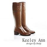 Keeley Ann 法式紳女-全真皮完美圖騰質感中跟長靴(棕色589313325)