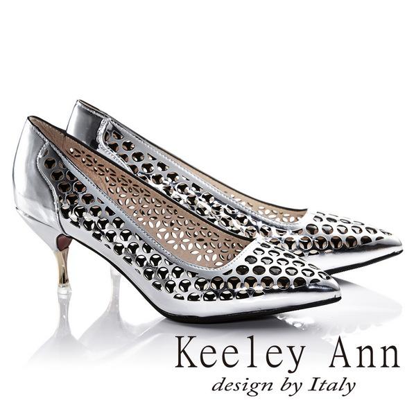 Keeley Ann科技感鏤空洞洞前衛OL尖頭高跟鞋^(銀色625972327^)~Ann