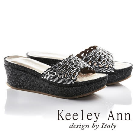 Keeley Ann滿鑽波浪鏤空真皮厚底涼拖鞋(黑色631233110)
