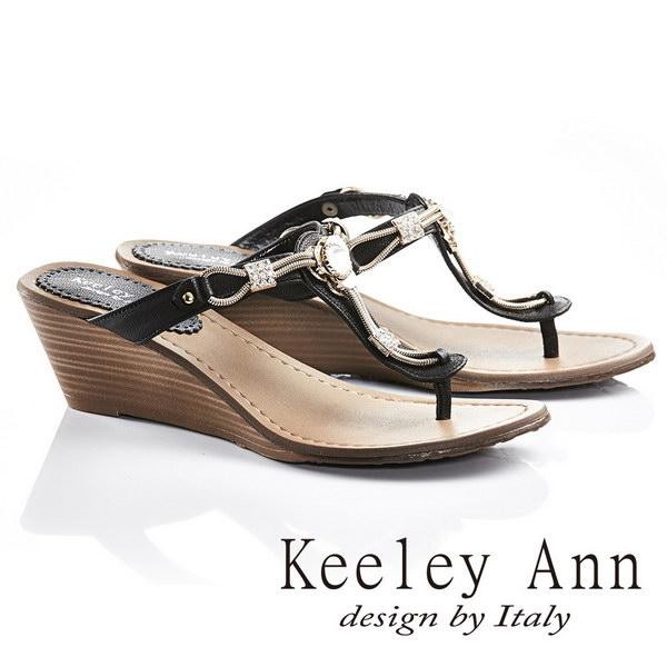 Keeley Ann金屬鍊條美鑽T型真皮夾腳楔形拖鞋^(黑色631008210^)