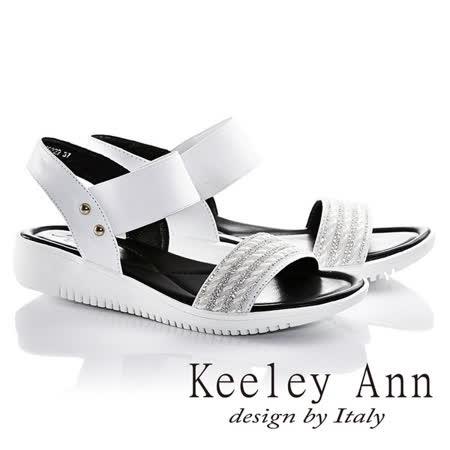 Keeley Ann率性滿鑽波浪鬆緊帶真皮平底涼鞋(白色622932240)-Ann系列