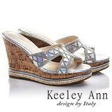 Keeley Ann驚艷鏡面幾何真皮楔形涼拖鞋(銀色631013127)